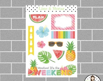 Tropical Summer Decorative Planner Stickers