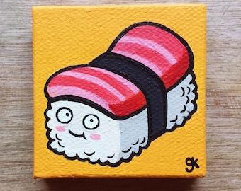 """Sushi Painting / Mini Cute Cartoon Food Painting (2"""" x 2"""")"""