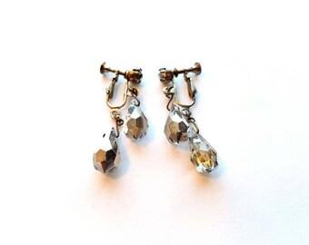 Vintage Silver Double Dangles with Crystal Teardrop Beads Screw On Earrings