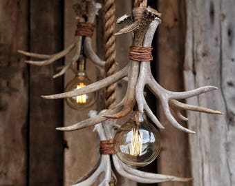 The Cabin Lit Chandelier - Antler Shed Pendant Rope Light - Hanging ceiling Accent lighting - Rustic industrial Deer fixture
