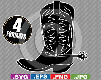Cowboy / Cowgirl Western Boot Clip Art - SVG Cutting File PLUS eps (vector), jpg, & png