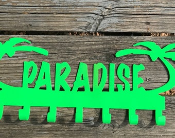 Paradise, Paradise sign, Lake sign, Pool sign, vacation sign, Vacation home sign, Metal Paradise sign, Metal vaca home sign