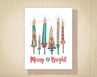 Merry & Bright Holiday Cards, Holiday Greeting Card, Illustrated Cards, Hand Drawn Christmas Card, Christmas Cards, Candle Illustration