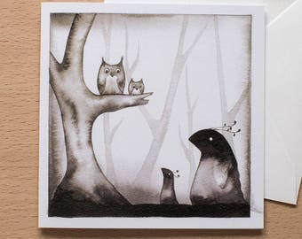 Owls and Creatures - Original Greetings Card - Forest Design - Blank Inside - Alternative card for any occasion
