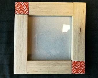PHOTO FRAME (for the wall) tile red and oak