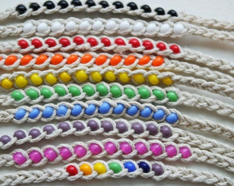 COLORFUL BEADED FRIENDSHIP Hemp Bracelet