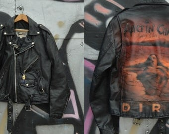 Vintage 90s Leather jacket Painted jacket Alice in Chains Biker leather jacket Mens leather jacket - M / L