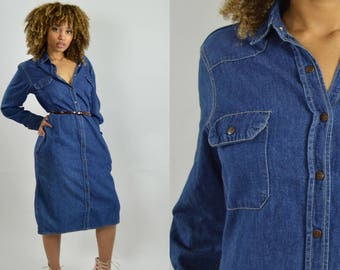 Calvin Klein Denim dress Long sleeve dress 1970s Vintage denim Midi dress - Medium