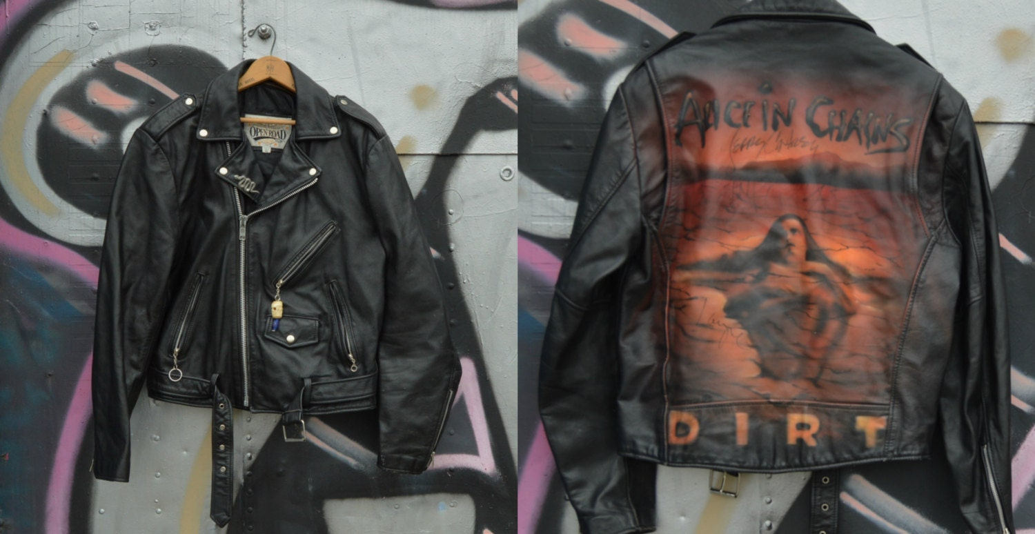 Leather jacket repair toronto - Painted Jacket 90s Vintage Black Leather Jacket Biker Jacket Alice In Chains