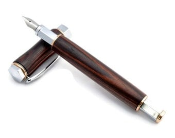 Kingwood Fountain Pen With 24kt Gold & Chrome Fittings - Handcrafted Wood Ink Pen By Whiddenswoodshop - Wood Fountain Pen
