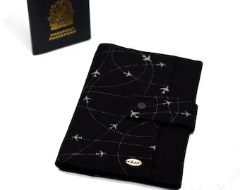 ANTI RFID protection | Family passport holder | Travel case | Boarding pass | 4 - 8 passeports | plane black and frey