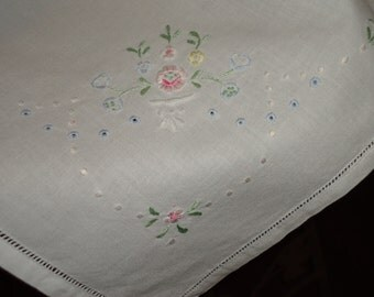 Vintage  HAND MADE Embroidered  and Hem Stich Tablecloth , 36 inch Sq. Perfect Gift Tomorrow's Heirloom