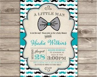 40 Printed Mustache Little Man Invitations Bow Tie Baby Shower Gentleman Chevron Mustache Boy Black Grey Teal BowtieNV758