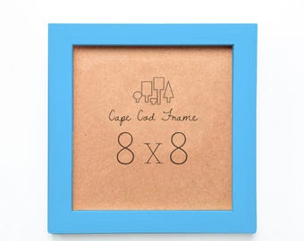 8x8 Picture Frame. Sky Blue 8x8 Frame. Solid Wood - Perfect Frames For Instagram Prints