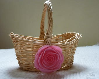 Flower girl basket. Wedding basket. Shabby chic basket