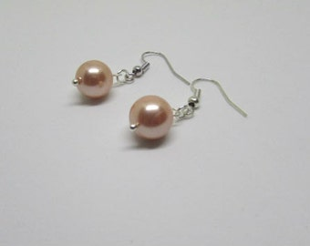 Peach Pearl Drop Earrings, Bridesmaid Earrings, Bridesmaid Gift, Pearl Jewelry, Wedding Jewelry, Shell Pearls, Sterling Silver Earrings