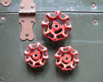 Valve / Gate Valve / Spigot or Faucet Handles Magnet Set, Vintage Re-Purposed Red Valve Handles, Industrial Magnets Refrigerator 3 piece set