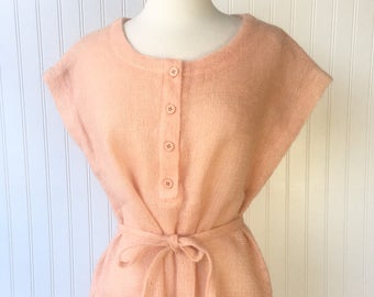 Peach Knit Tunic Sweater Top