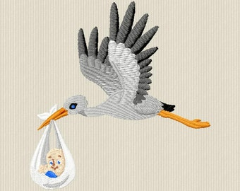Embroidery pattern of a stork with baby for machine embroidery 4 x 4 format