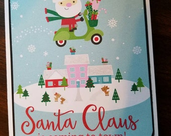 Santa claus is coming to town, merry Christmas card