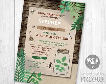 Bug Birthday Invite Etsy