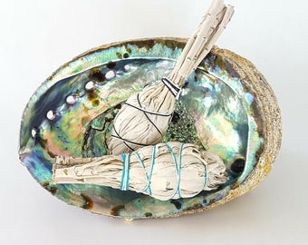 Abalone Shell, Large Smudge Bowl, Spiritual, Herbal Smudge Bowl