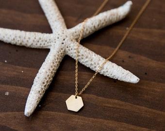 Modern Hexagon Necklace, Raw Brass Necklace, Geometric Brass Bar necklace, everyday necklace, minimal jewelry, Easy Girlfriend Gift, Simple