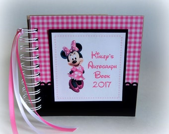 2018  Pink PERSONALIZED  Disney Autograph Book Scrapbook Travel Journal Vacation Photo Book