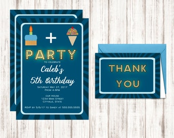 Cake and Ice Cream Birthday Invitations - Free Thank You Cards Included - Instant Download Birthday Invitation Templates