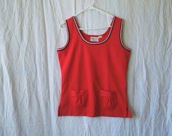 60s Red Pocketed Tank Top
