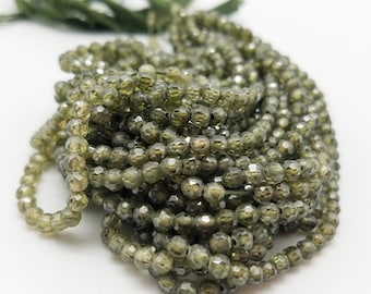 3.5 mm , Olive Green Zircon Micro-Faceted, 16 Inch