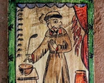 San Pasqual, Patron Saint of Cooks, Kitchens and Shepherds. Original Retablo.