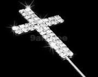 Silver Rhinestone Cross Cupcake or Cake Topper for baptism, baby, wedding