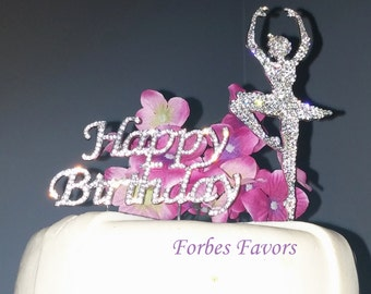 Set of 2 Rhinestone Silver Happy Birthday & Ballerina Cake Topper