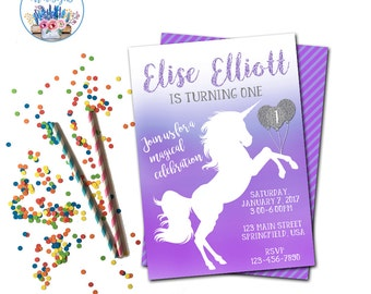 Unicorn Invitation, Unicorn Birthday Party, Pony Party Invite