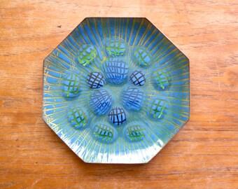 Vintage Annemarie Davidson Enamel on Copper Octagonal Dish Plate Jewels Grooveline Ghostline Sierra Madre California Blue Green