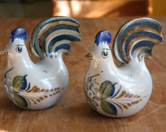 Pair of Tonala Hand Painted Ceramic Chickens Mexico Pottery Blue Green Brown Off White Signed Erandi