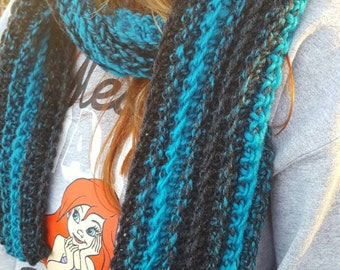 Teal Charcoal Gray Chunky Scarf - Teal Charcoal Gray Extra Long Ribbed Scarf - Teal Gray Wool Scarf - Teal Gray Oversized Crochet Scarf