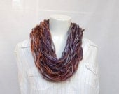 Chunky knit cowl in russet colours arm knit cowl giant knitting christmas gift for her