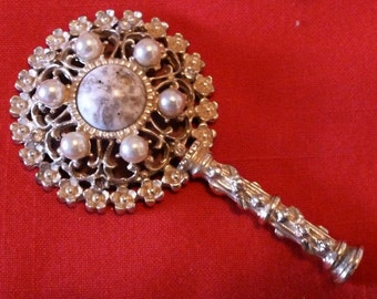 VINTAGE Bejeweled Hand Mirror Fit for a Princess!