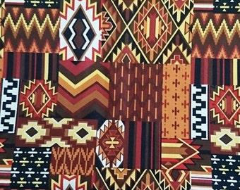 """Aztec, 100% cotton, symmetrical, orange Brulé, 100cm (1 m / 39 """")"""