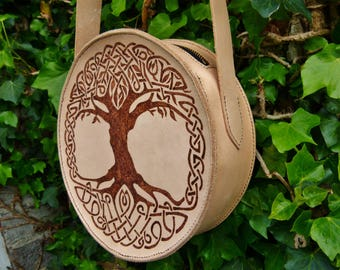 Hand Stitched and Engraved Round Tree of Life Shoulder Bag **Personalised**