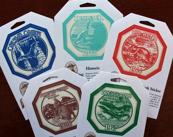 National Park and Monument Stickers Embellishments Vintage-Look Vinyl DESTASH Free Ship
