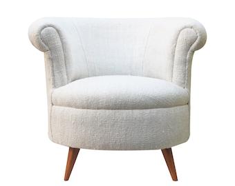 White Single Seater Sofa, Vintage Rug Covered Upholstery Sofa,White Sofa, Boho Sofa/IN STOCK