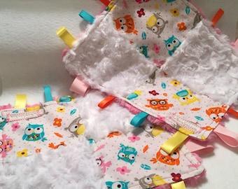 Taggie Mini-Blanket ~ Owls & Minky Fleece, Owls, Taggie, Fleece, Blanket