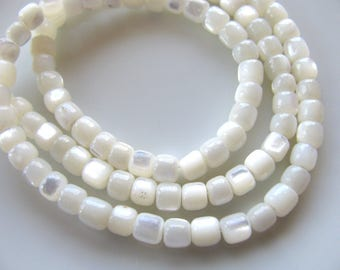 Shell beads, Mother of Pearl, 15 inch strand, 5mm, vintage beads, Jewelry supply B-1259