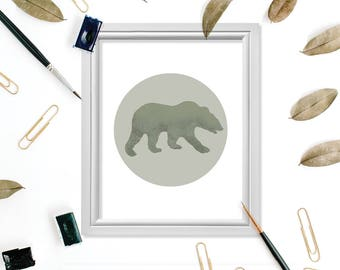 Bear Print, Bear Wall Art, Rustic Art, Rustic Digital Print, Wilderness Art, Wilderness Print, Bear Silhouette, Scandinavian Art, Bear Decor