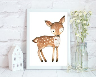 Woodland Nursery Wall Art, Woodland Nursery Decor, Woodland Printables, Deer Nursery Decor, Animal Prints for Kids, Deer Print, Nursery Art