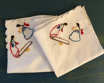 Vintage Embroidered Handkerchiefs with Asian Girls on Seesaw