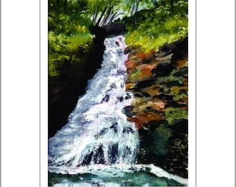 Dingmans Waterfalls, PA - Watercolor Print